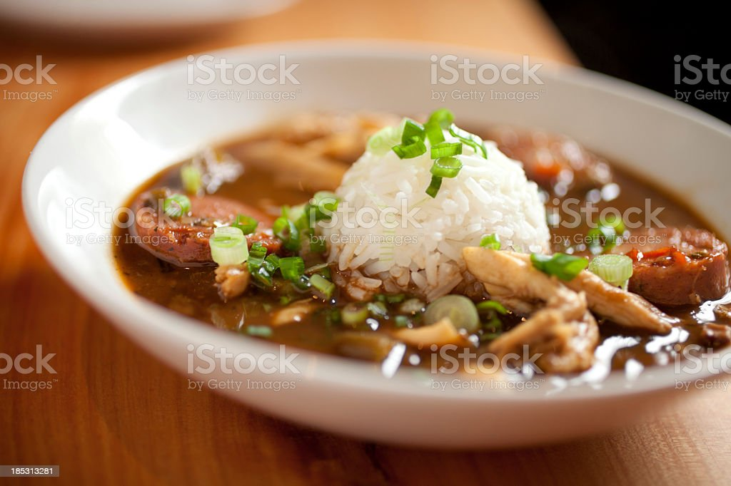 Dinner consisting of chicken gumbo with rice stock photo