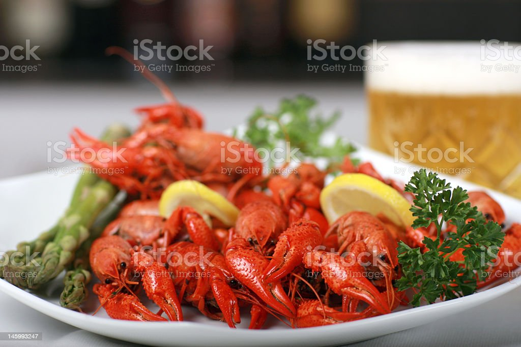 Dinner consisting of crawfish and beer royalty-free stock photo