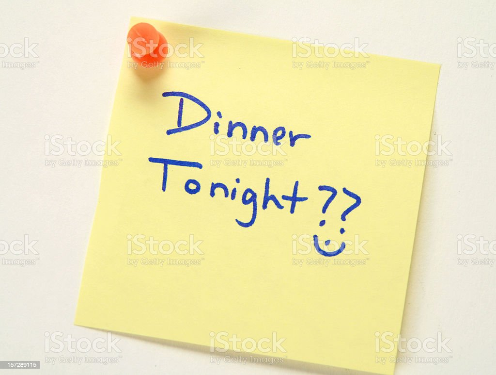 Dinner Date Post It royalty-free stock photo