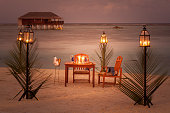 dinner for two on tropical island