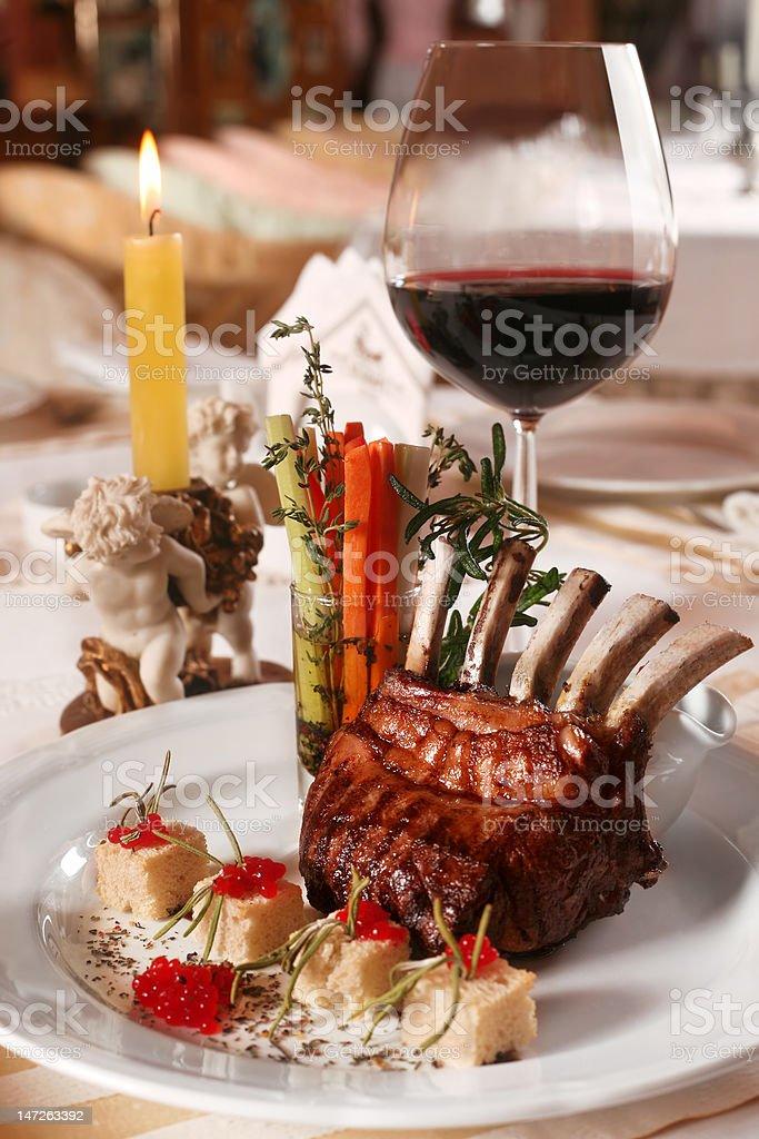 Dinner in restaurant royalty-free stock photo