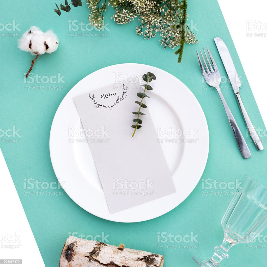 Dinner menu for a wedding or luxury evening meal. Table stock photo