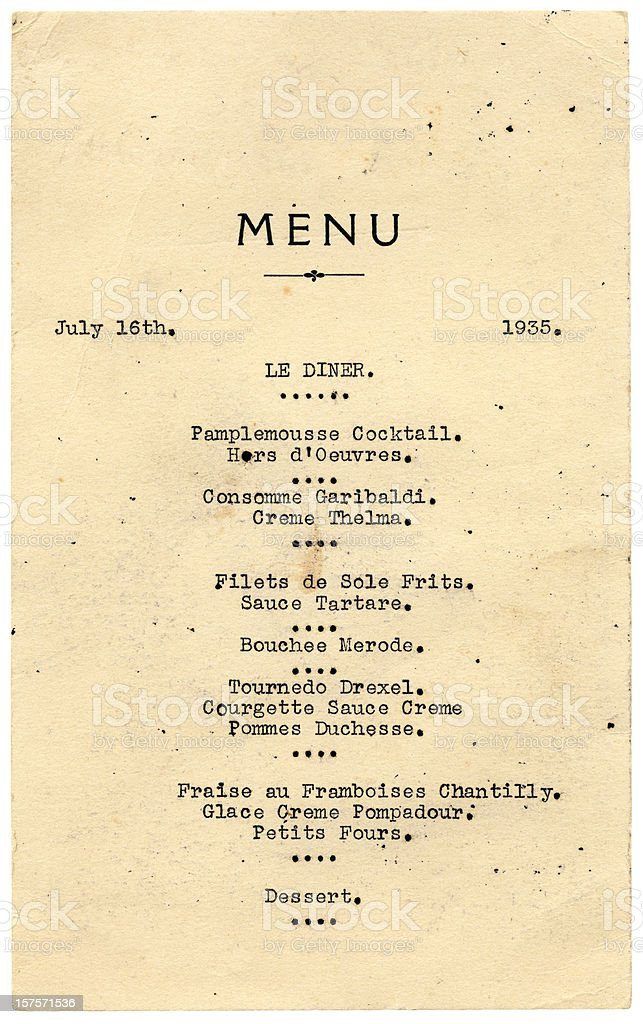 Dinner menu from 1935 royalty-free stock photo