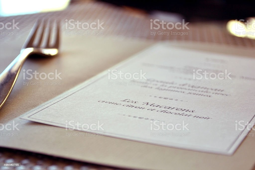 Dinner menu stock photo