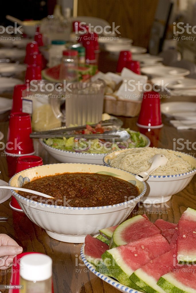 Dinner of Spaghetti, Salad, Watermelon royalty-free stock photo