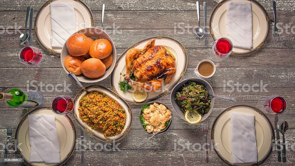 Dinner on Rustic Wood Table stock photo