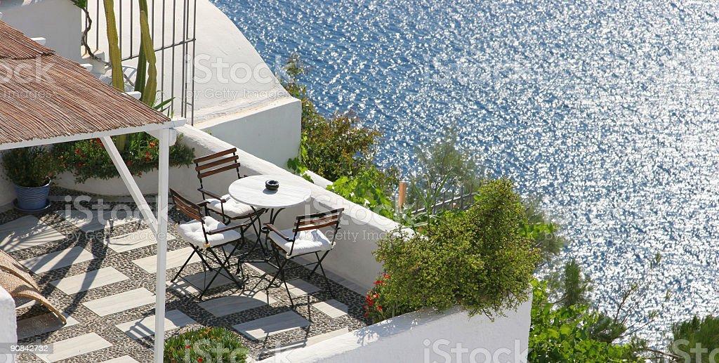 Dinner on Santorini stock photo