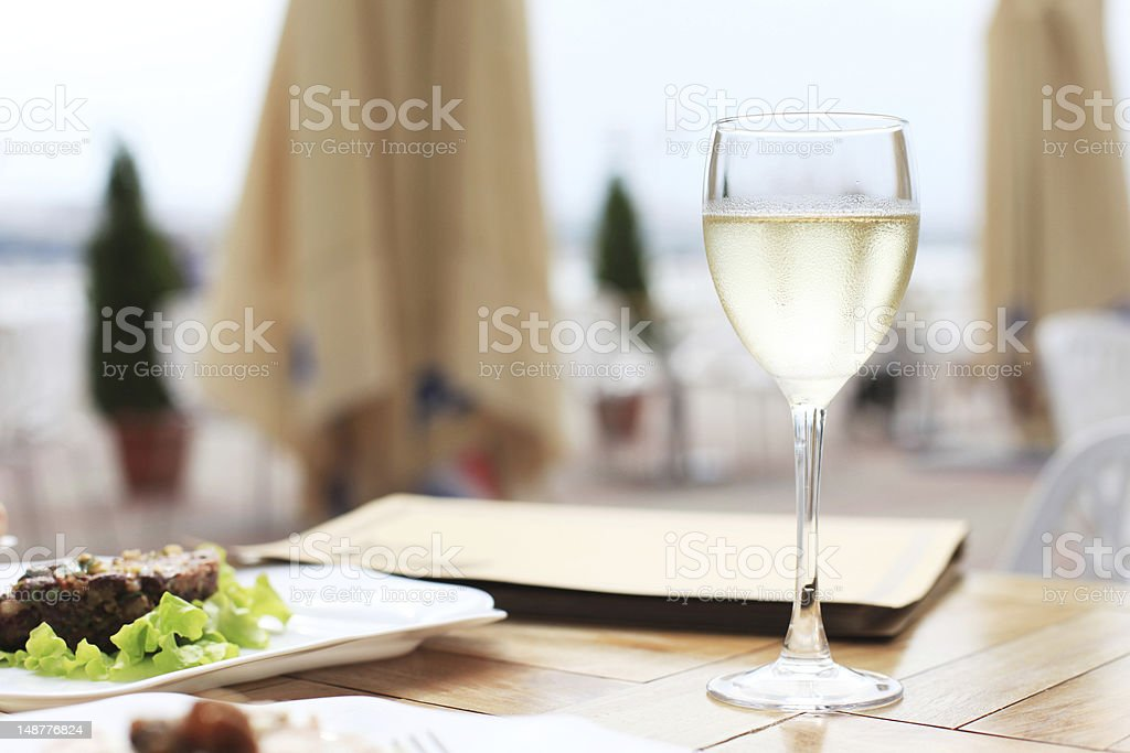 dinner on terrace in cafe royalty-free stock photo