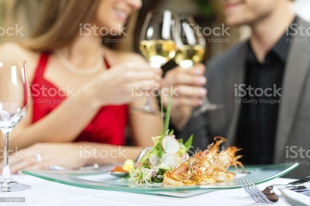Dinner or lunch in restaurant stock photo