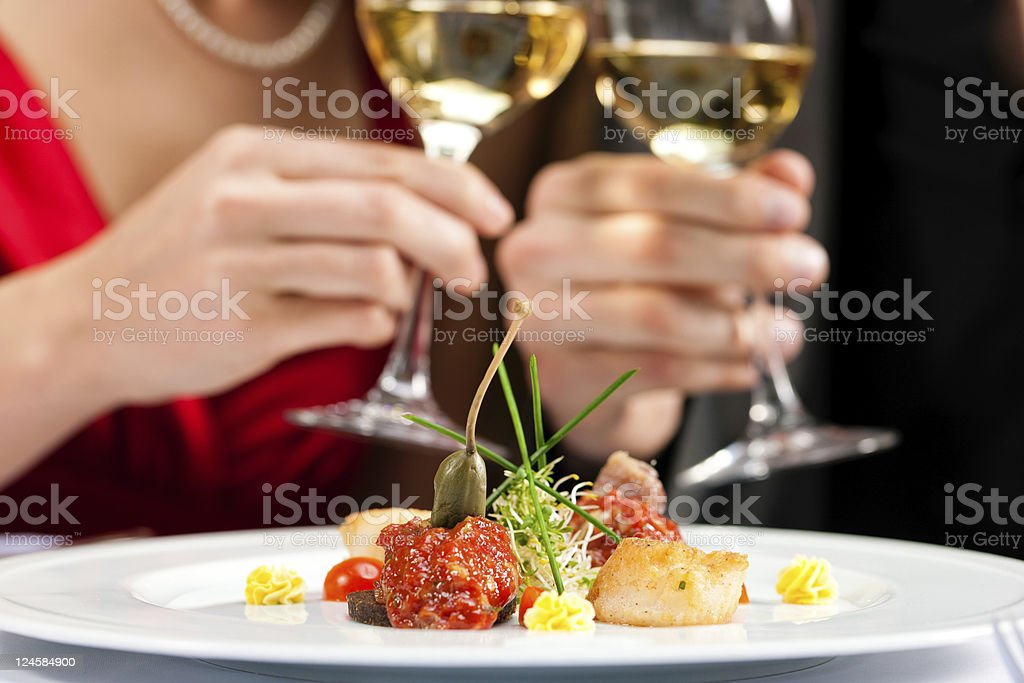 Dinner or lunch in restaurant royalty-free stock photo