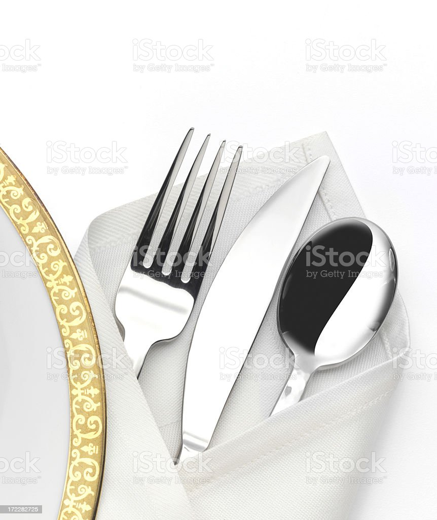 Dinner Plate and Silverware royalty-free stock photo
