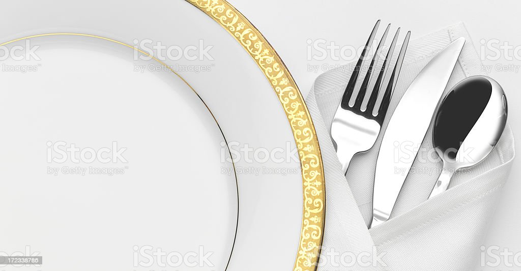 Dinner Plate and Silverware stock photo
