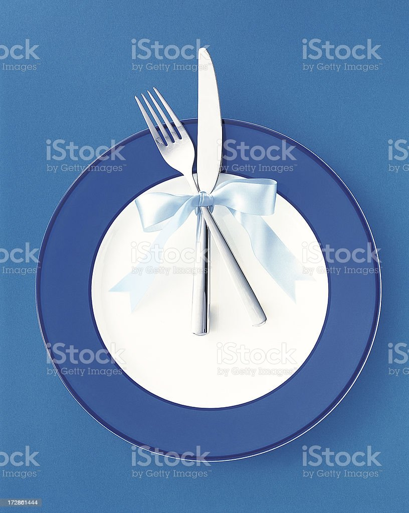 Dinner Plate, knife and fork royalty-free stock photo