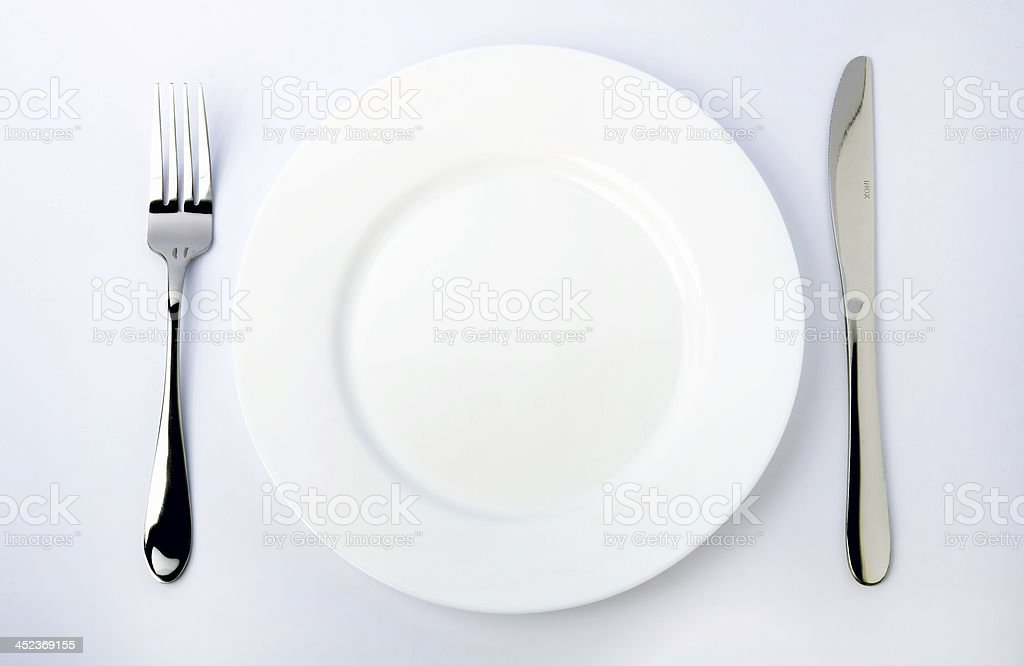 Dinner Plate, Knife, and Fork royalty-free stock photo
