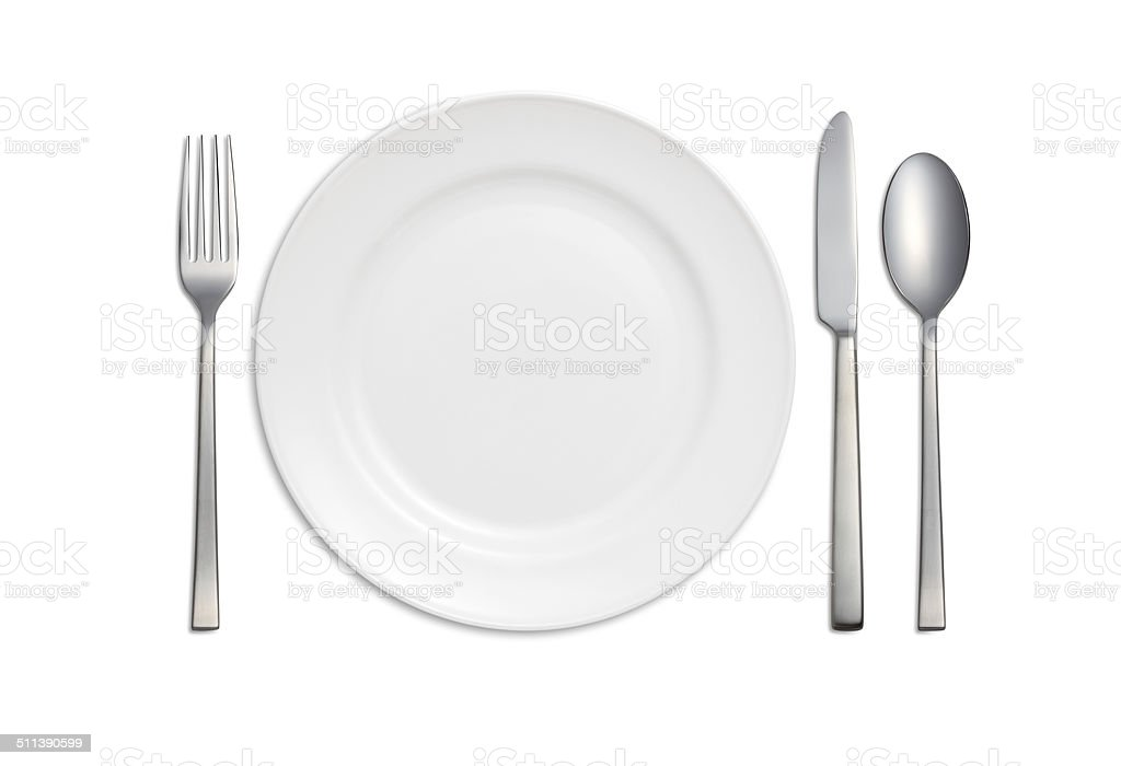 Dinner Plate, Knife,Spoon, and Fork stock photo
