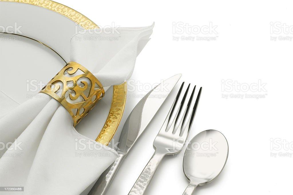 Dinner Plate, Silverware & Napkin stock photo