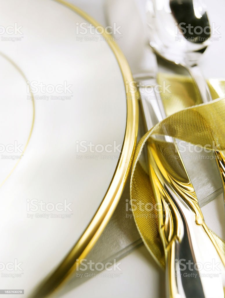 Dinner Plate with Silverware stock photo