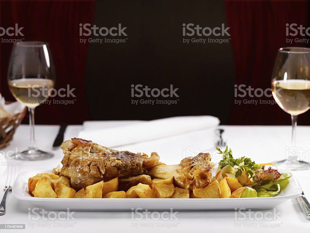 Dinner -  Pork knuckle  with  sour cabbage royalty-free stock photo