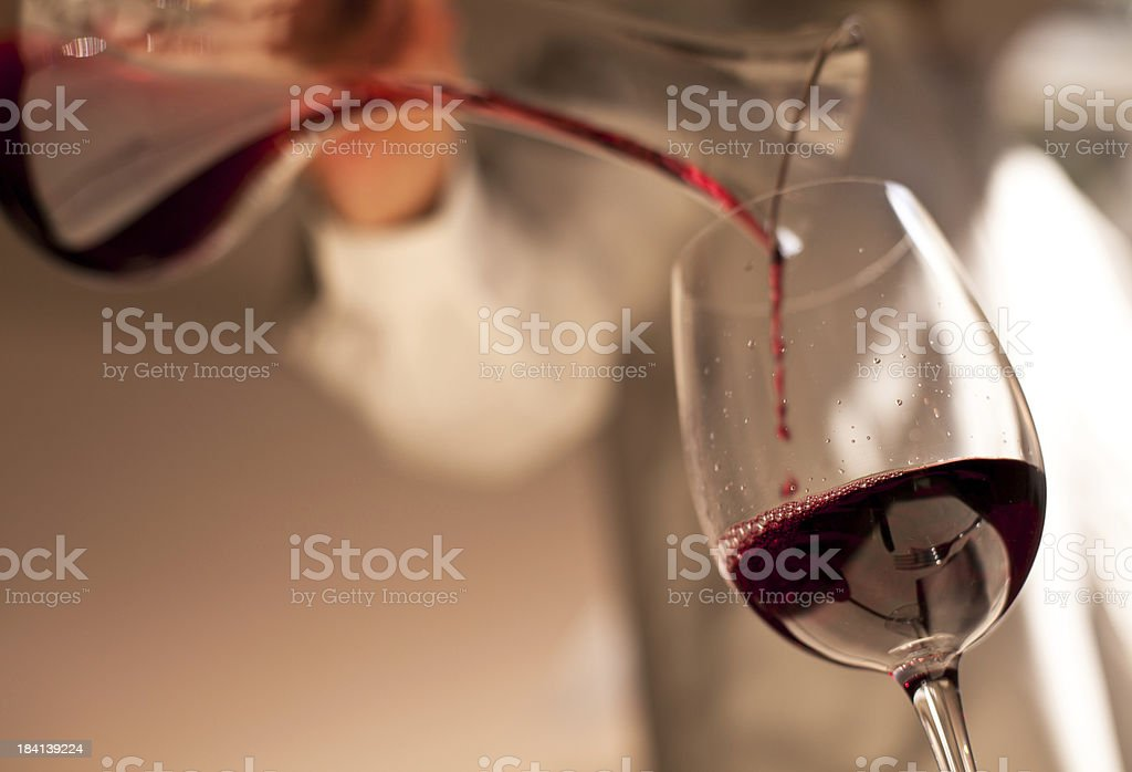Dinner, Pouring the Wine stock photo