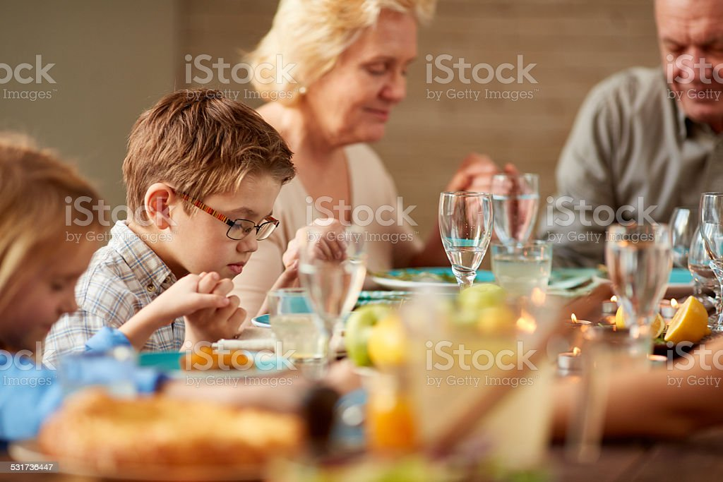 Dinner prayer stock photo