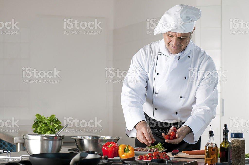 Dinner preparation at restaurant stock photo