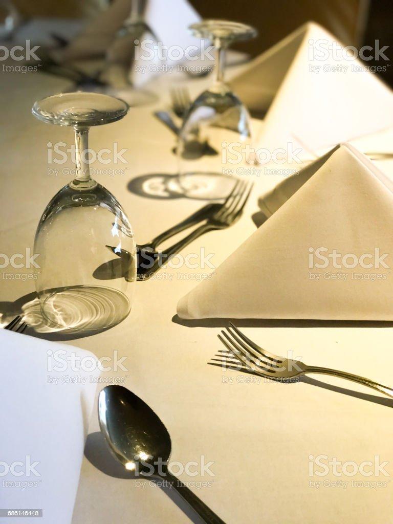 Dinner setting on sunlight stock photo