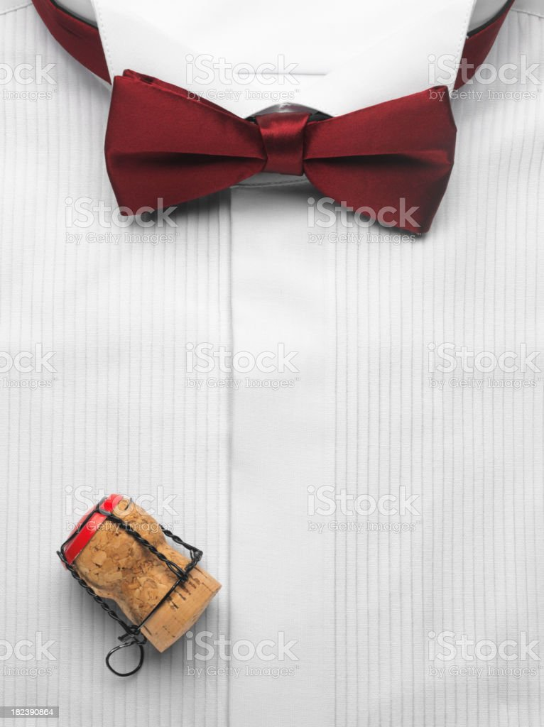 Dinner Shirt with Bow Tie and Champagne Cork stock photo