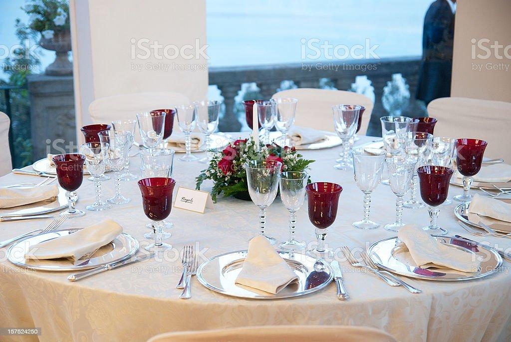 dinner table decoration for white wedding stock photo