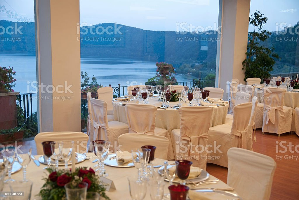 dinner table decoration in mediterian style stock photo