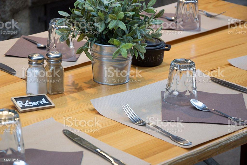dinner table decoration in restaurant stock photo