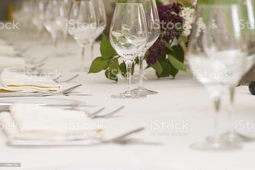 dinner table decoration on wedding stock photo