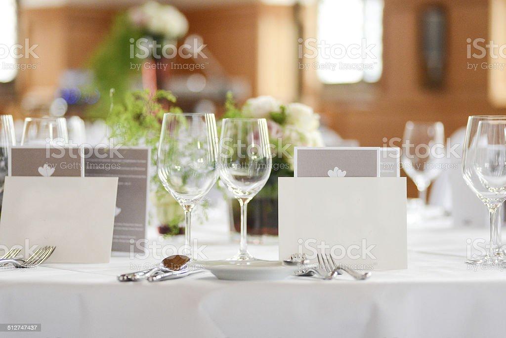 dinner table decoration on wedding - Tischdeko stock photo
