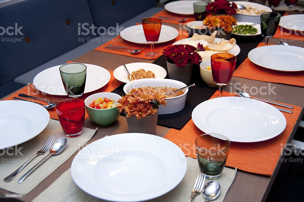dinner table diagonal view royalty-free stock photo