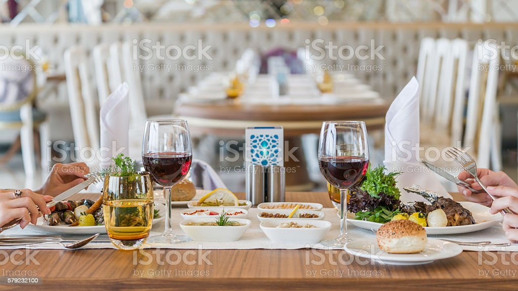 Dinner Table in hotel stock photo