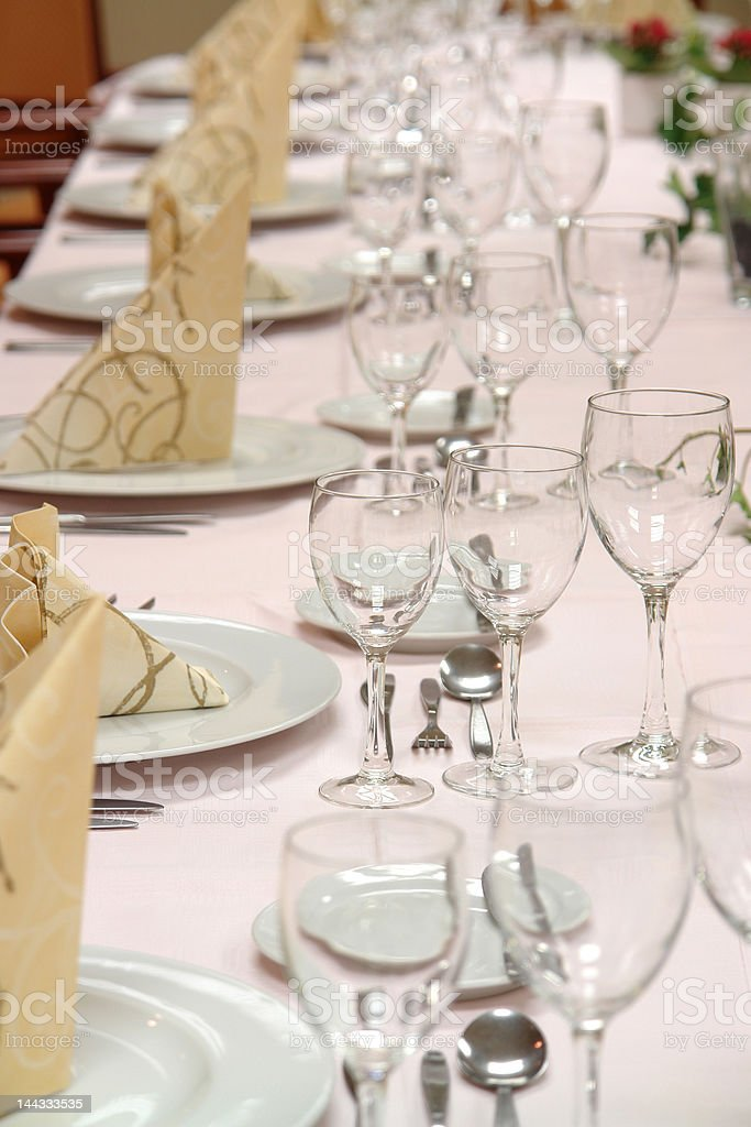 Dinner table in restaurant royalty-free stock photo