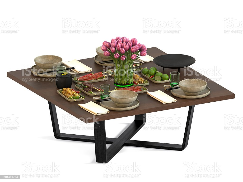 Dinner Table Isolated On White Background stock photo