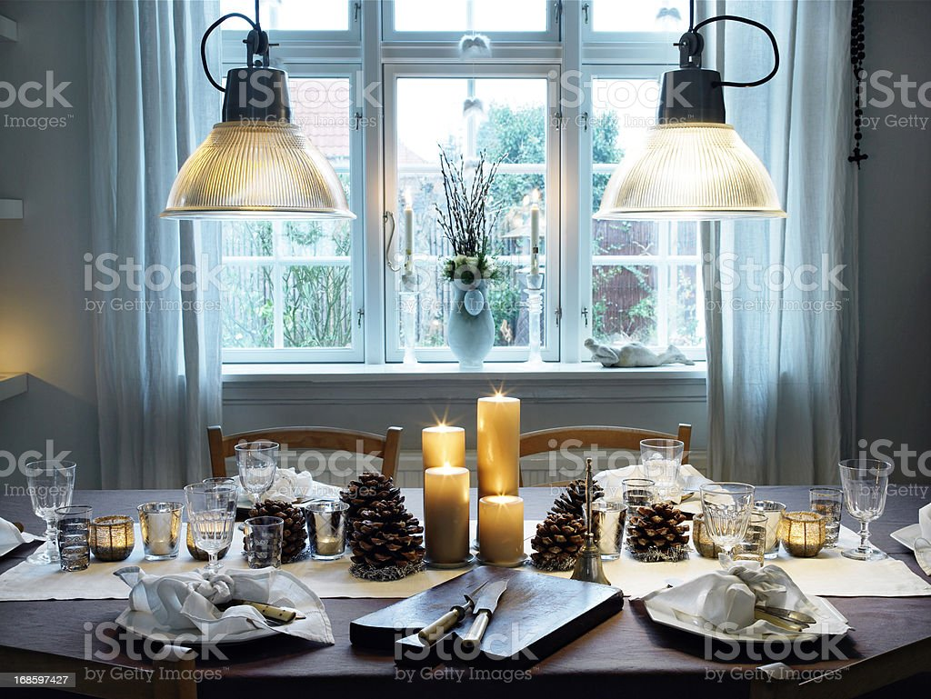 Dinner table stock photo