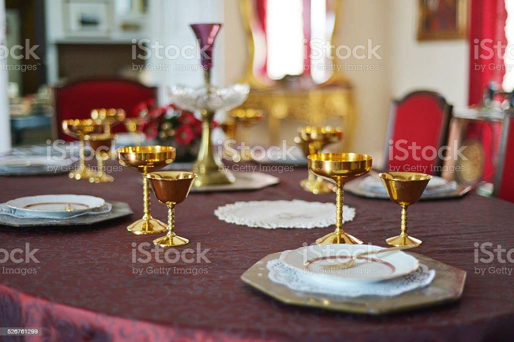 Dinner table stock photo