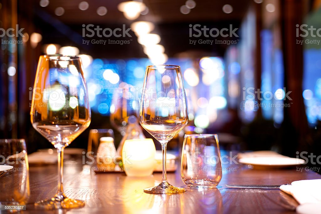 dinner table set up stock photo