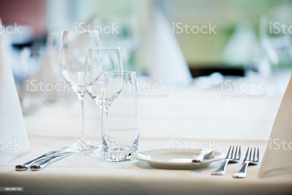 Dinner table setting for fancy meal stock photo