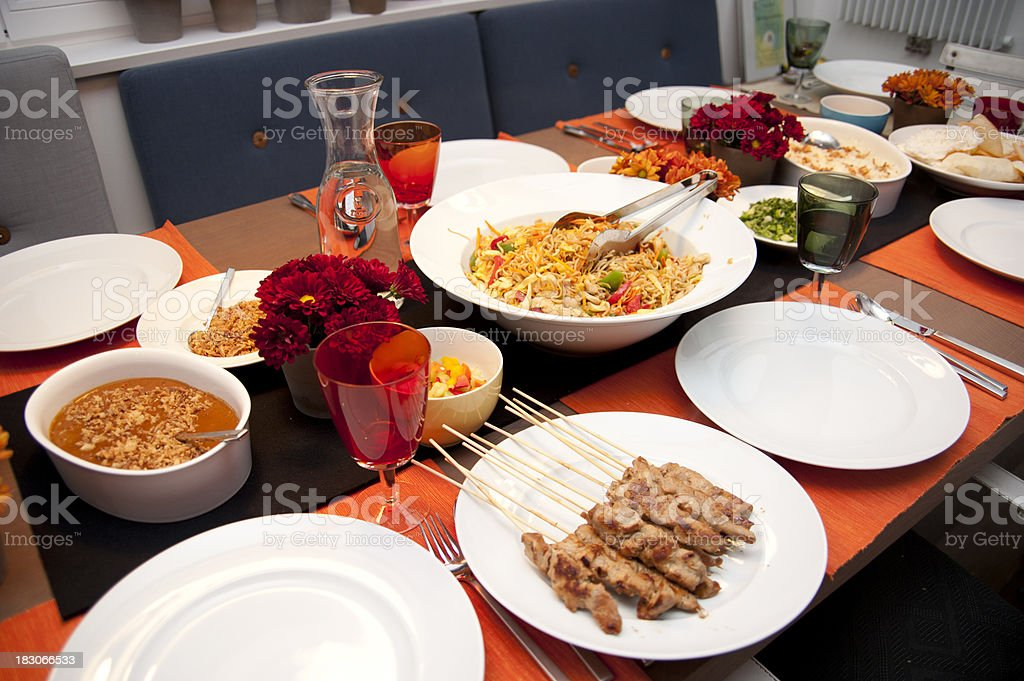 dinner table with asian food royalty-free stock photo