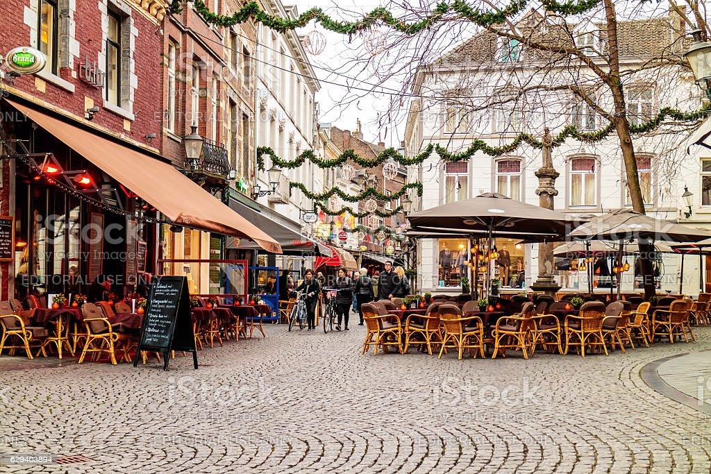 Maastricht, The Netherlands - November 22, 2016: Dinner tables of...