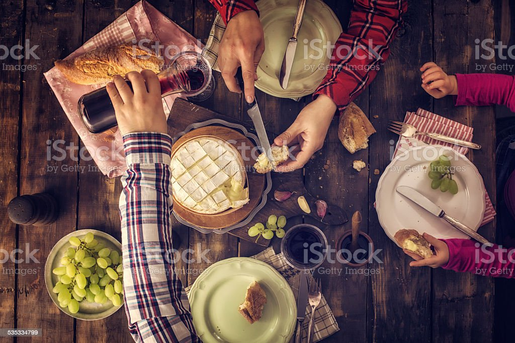 Dinner with Baked Camembert Cheese stock photo