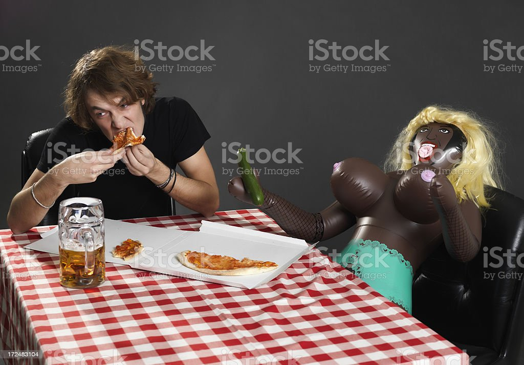 dinner with doll stock photo