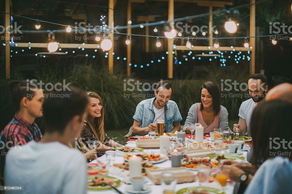 Dinner with friends stock photo