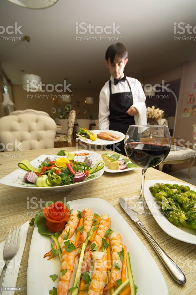 dinner with red wine... royalty-free stock photo