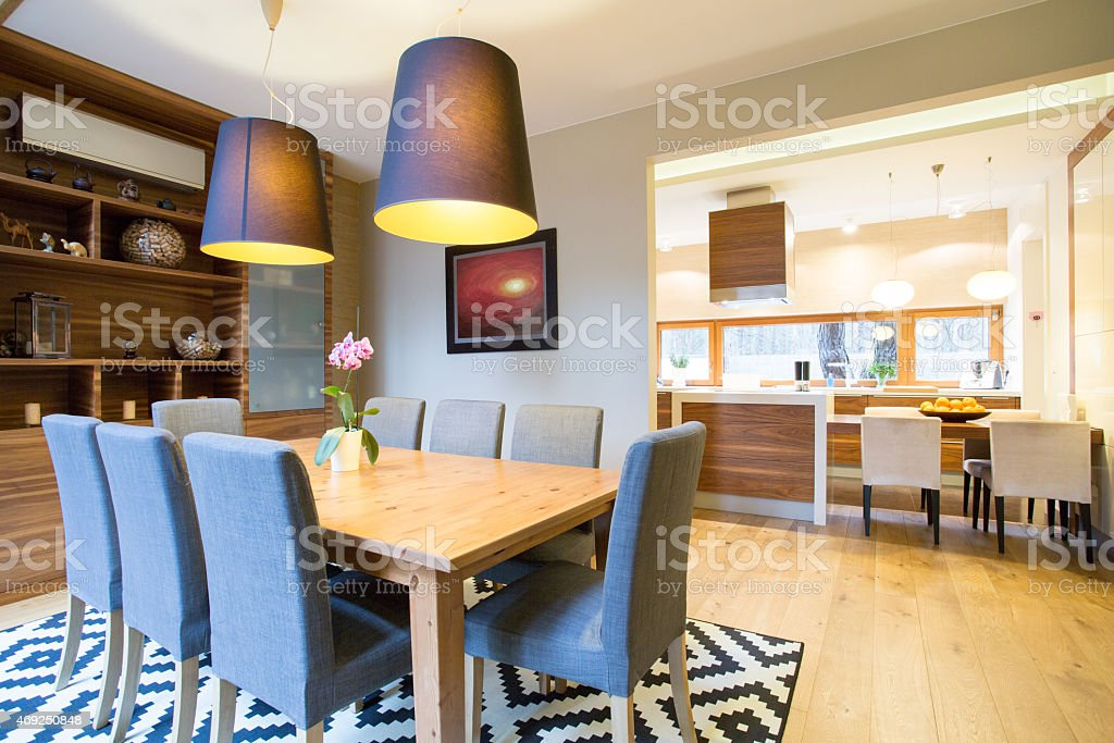 Dinning room in modern house stock photo