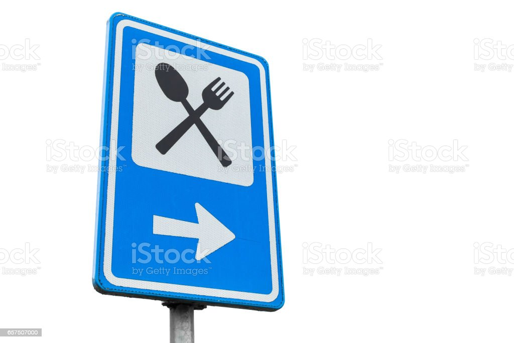 Dinning service road sign isolated on white stock photo