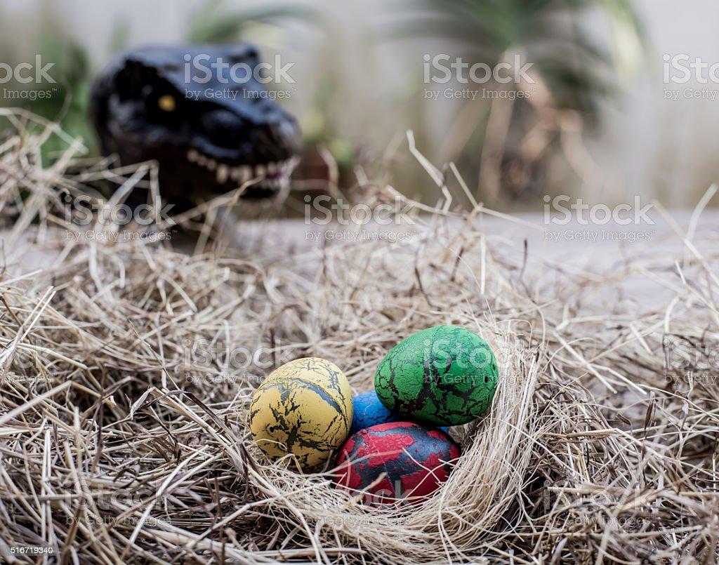Dinosaur Egg in Easter day stock photo