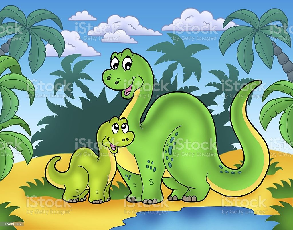 Dinosaur family in landscape royalty-free stock photo